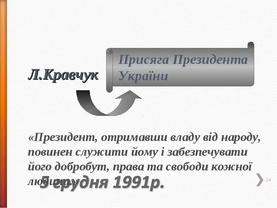 * Л.Кравчук Присяга Президента України «Президент, отримавши владу від народу...