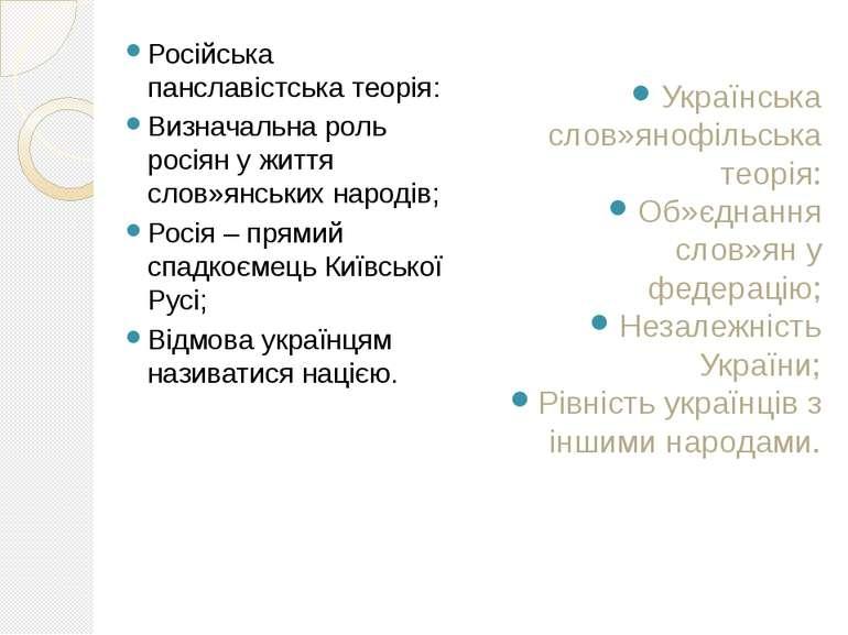 Російська панславістська теорія: Визначальна роль росіян у життя слов»янських...