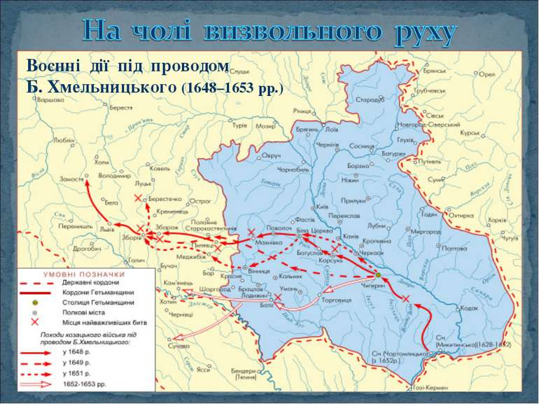Воєнні дії під проводом Б. Хмельницького (1648–1653 рр.).