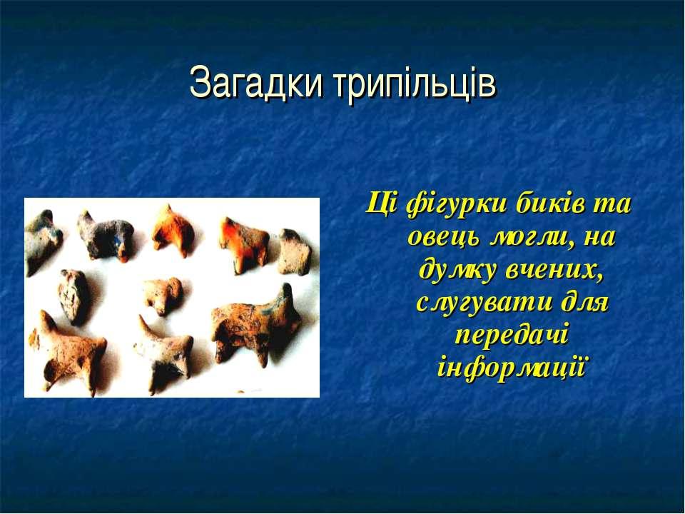 Загадки трипільців Ці фігурки биків та овець могли, на думку вчених, слугуват...