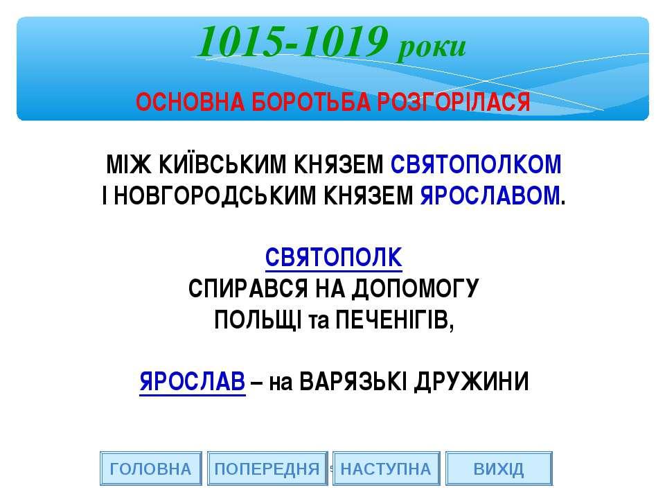 * ГОЛОВНА НАСТУПНА ВИХІД 1015-1019 роки ПОПЕРЕДНЯ ОСНОВНА БОРОТЬБА РОЗГОРІЛАС...