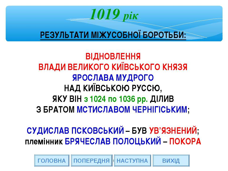 * 1019 рік ГОЛОВНА ВИХІД ПОПЕРЕДНЯ РЕЗУЛЬТАТИ МІЖУСОБНОЇ БОРОТЬБИ: ВІДНОВЛЕНН...