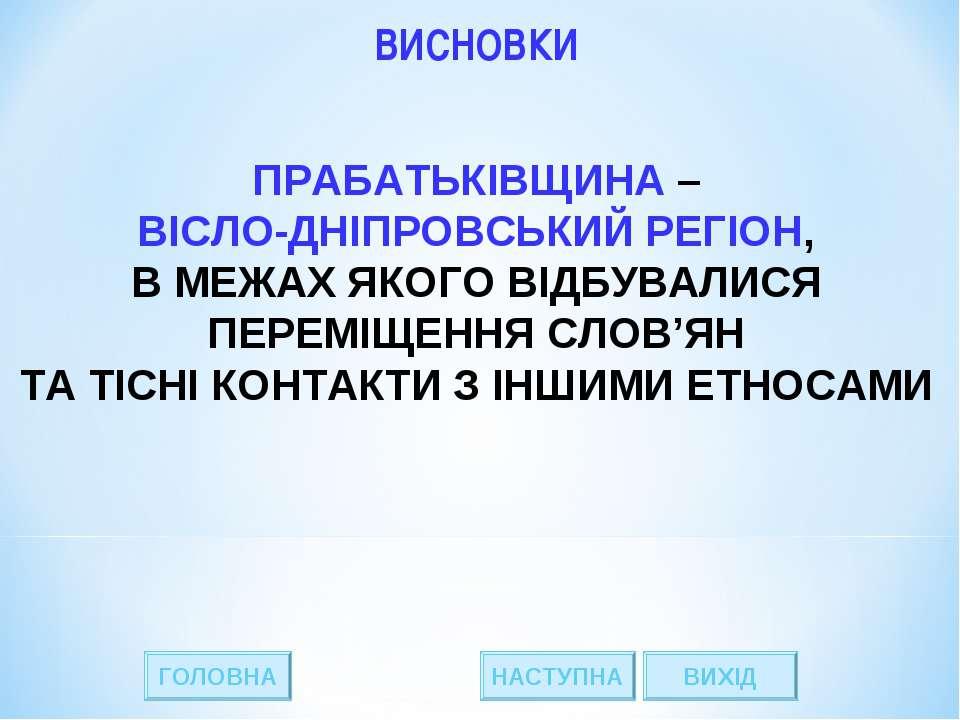 * ГОЛОВНА НАСТУПНА ВИХІД ВИСНОВКИ ПРАБАТЬКІВЩИНА – ВІСЛО-ДНІПРОВСЬКИЙ РЕГІОН,...