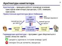 * Архітектура комп'ютера Архітектура – принципи роботи і взаємодії основних п...