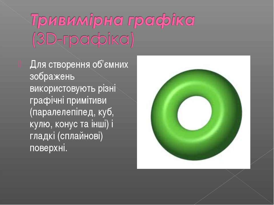 Для створення об'ємних зображень використовують рiзнi графiчнi примiтиви (пар...