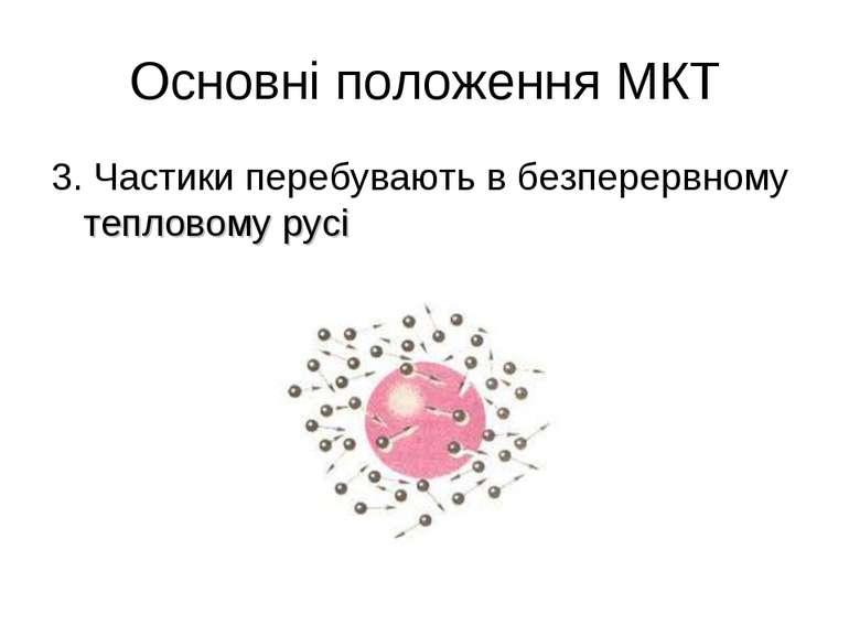 Основні положення МКТ 3. Частики перебувають в безперервному тепловому русі