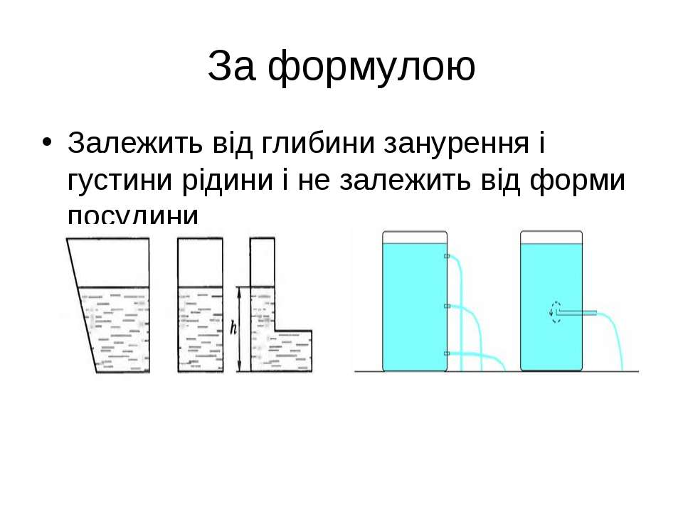 За формулою Залежить від глибини занурення і густини рідини і не залежить від...