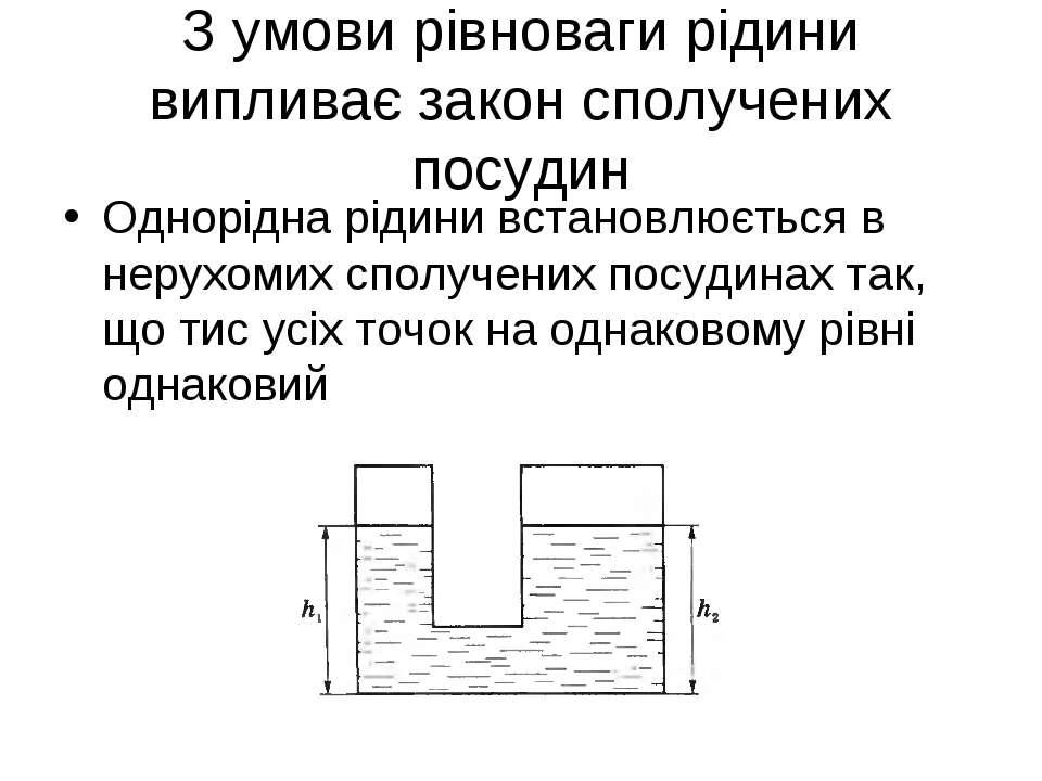 З умови рівноваги рідини випливає закон сполучених посудин Однорідна рідини в...