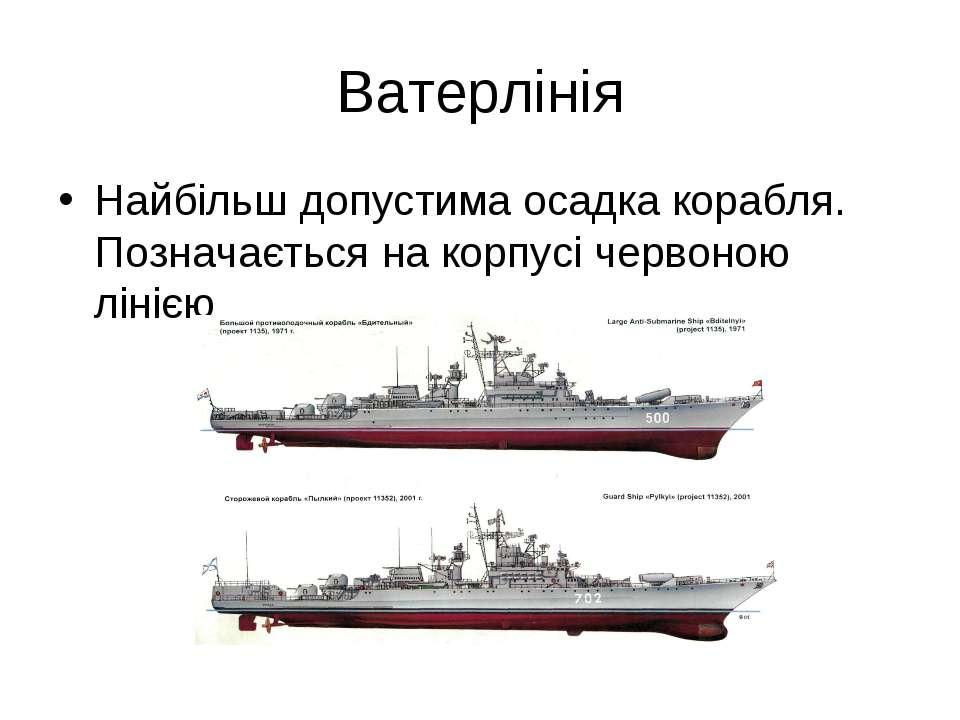 Ватерлінія Найбільш допустима осадка корабля. Позначається на корпусі червоно...