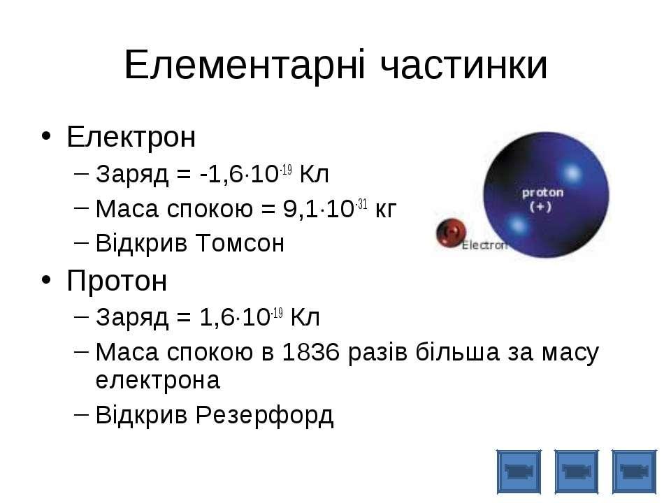 Елементарні частинки Електрон Заряд = -1,6 10-19 Кл Маса спокою = 9,1 10-31 к...