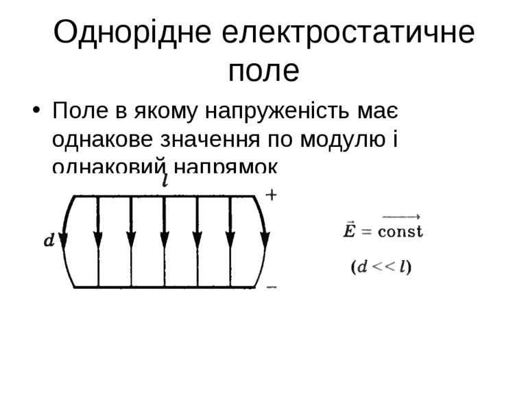 Однорідне електростатичне поле Поле в якому напруженість має однакове значенн...