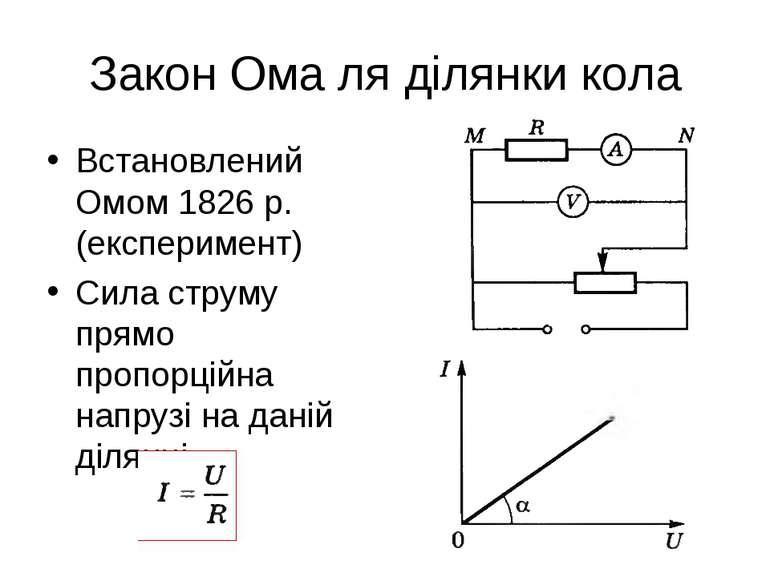 Закон Ома ля ділянки кола Встановлений Омом 1826 р. (експеримент) Сила струму...