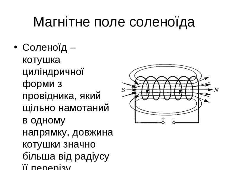Магнітне поле соленоїда Соленоїд – котушка циліндричної форми з провідника, я...