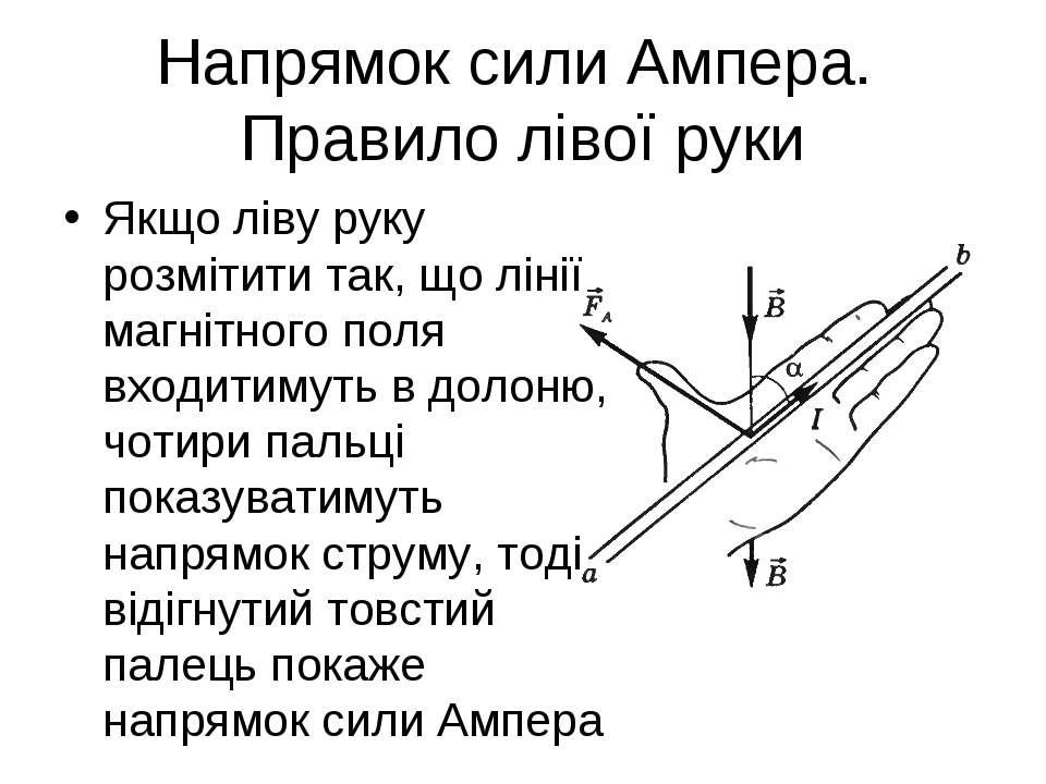 Напрямок сили Ампера. Правило лівої руки Якщо ліву руку розмітити так, що лін...