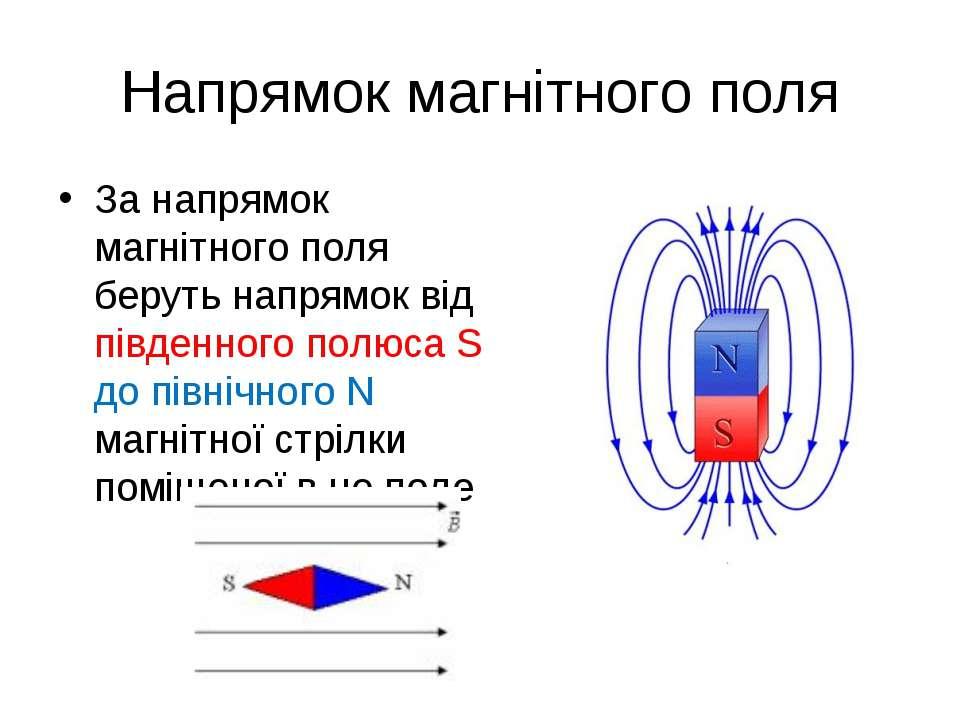 Напрямок магнітного поля За напрямок магнітного поля беруть напрямок від півд...