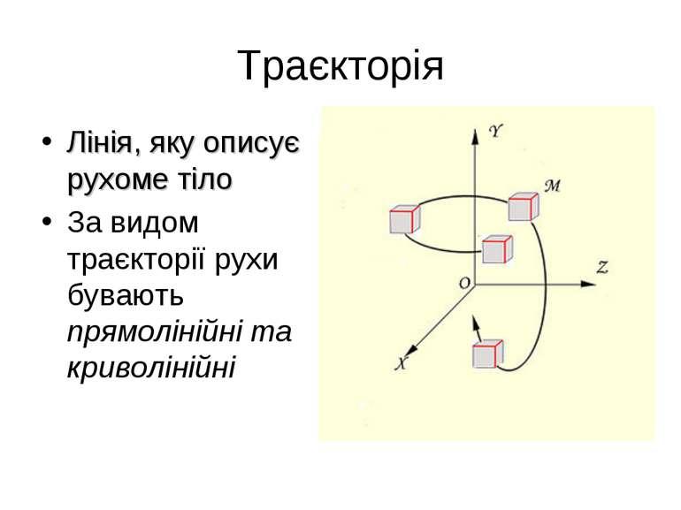 Траєкторія Лінія, яку описує рухоме тіло За видом траєкторії рухи бувають пря...