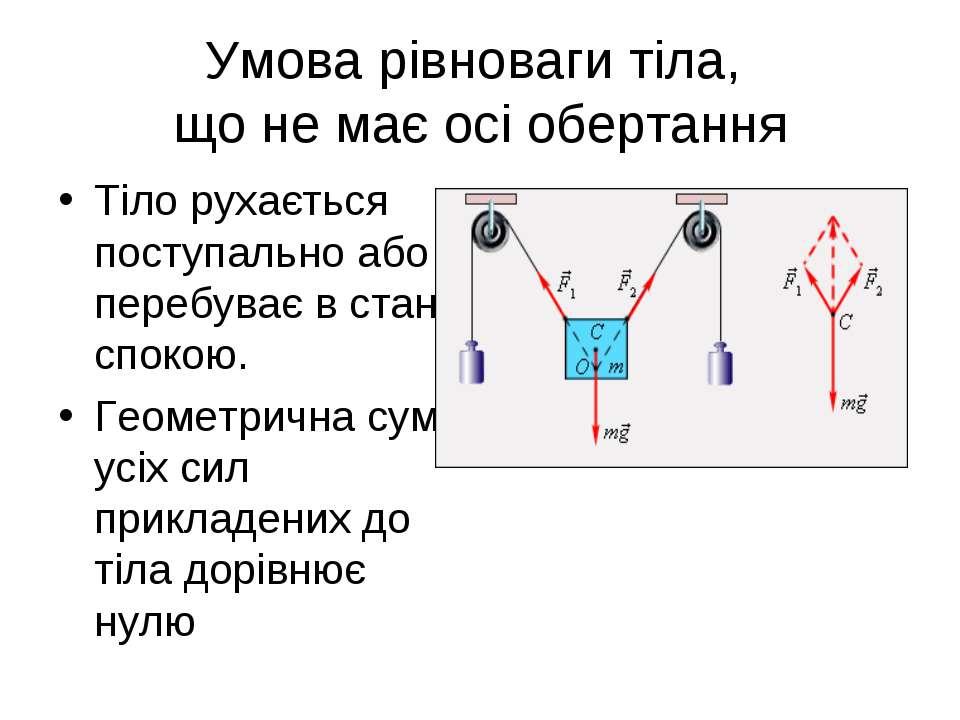 Умова рівноваги тіла, що не має осі обертання Тіло рухається поступально або ...