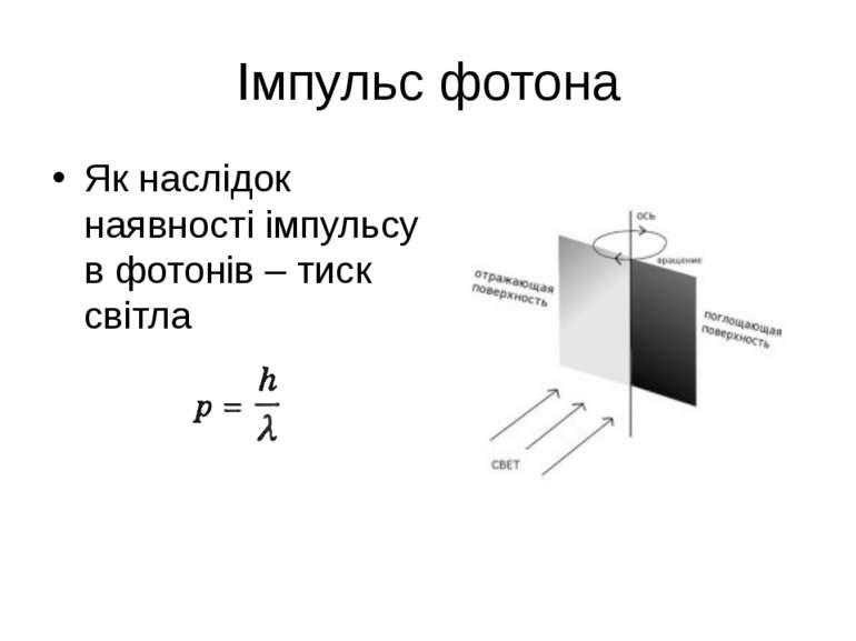 Імпульс фотона Як наслідок наявності імпульсу в фотонів – тиск світла
