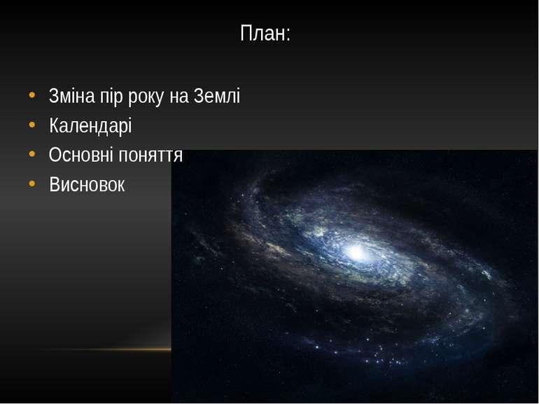 План: Зміна пір року на Землі Календарі Основні поняття Висновок