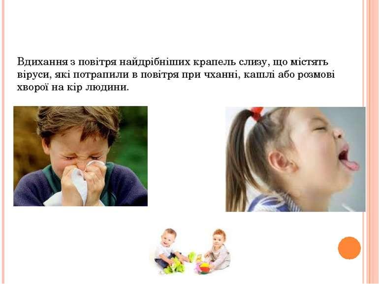 Причини винекнення Вдихання з повітря найдрібніших крапель слизу, що містять ...
