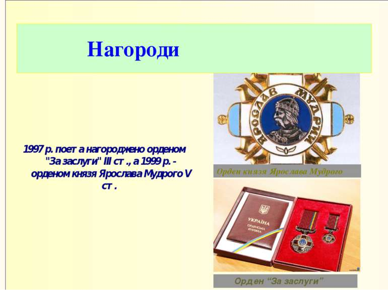 """Нагороди 1997 р. поета нагороджено орденом """"За заслуги"""" III ст., а 1999 р. - ..."""