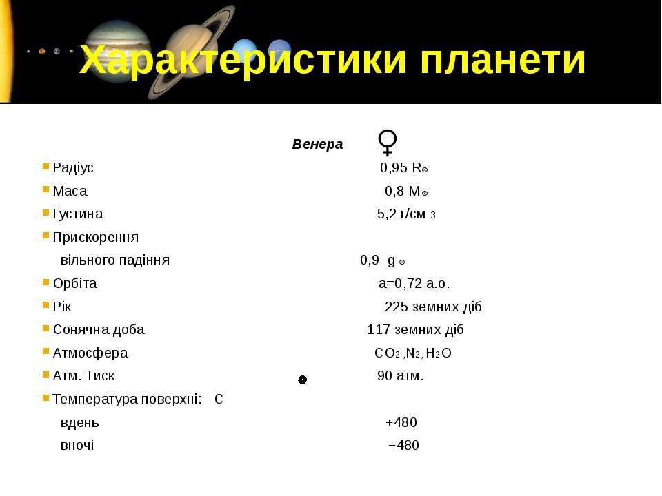 Венера Радіус 0,95 R Маса 0,8 M Густина 5,2 г/см 3 Прискорення вільного падін...