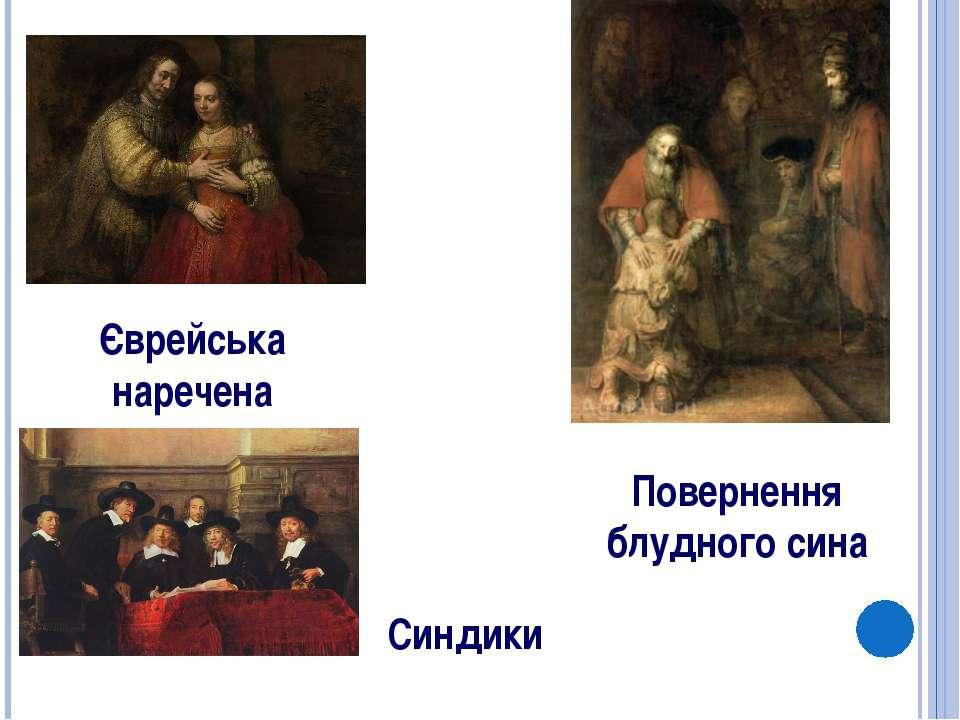 Повернення блудного сина Єврейська наречена Синдики