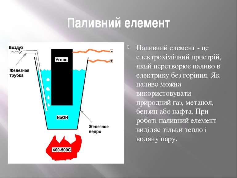 Паливний елемент Паливний елемент - це електрохімічний пристрій, який перетво...