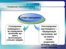 Гібридизація соматичних клітин Види схрещувань Неспоріднене (аутбридинг) – гі...