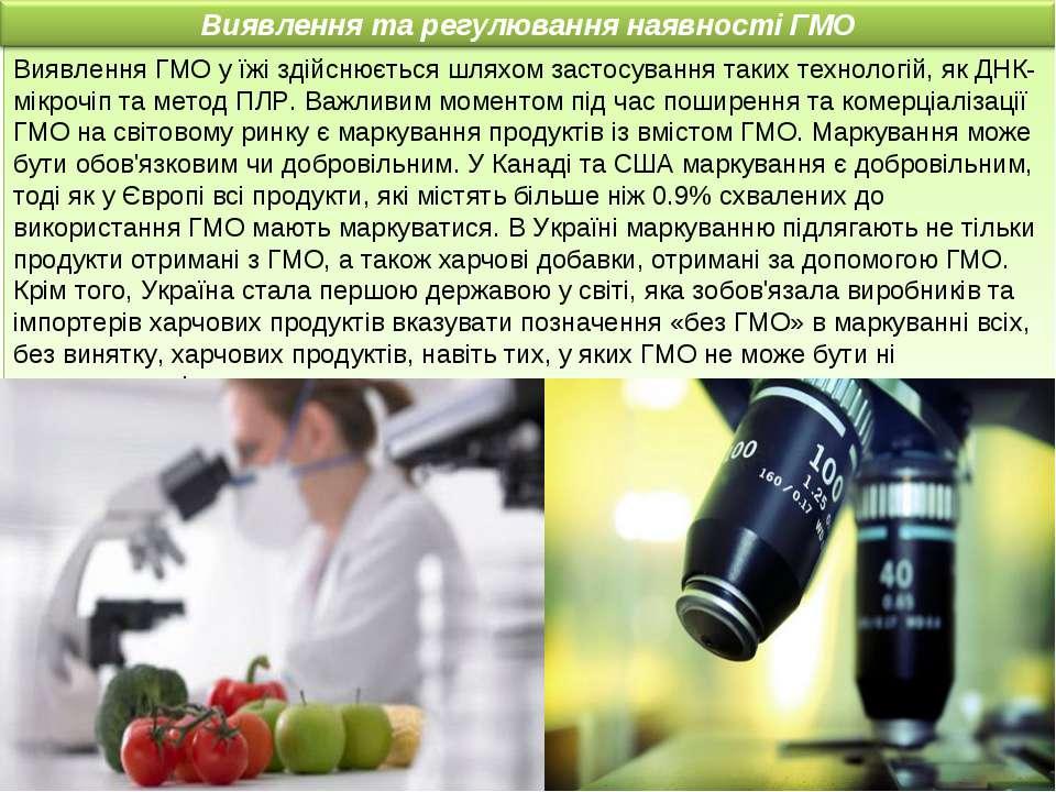Виявлення ГМО у їжі здійснюється шляхом застосування таких технологій, як ДНК...