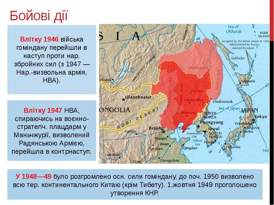 Бойові дії Влітку 1946 війська гоміндану перейшли в наступ проти нар. збройни...