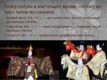 Театр кабуки в настоящее время состоит из трёх типов постановок: Дзидай-моно ...