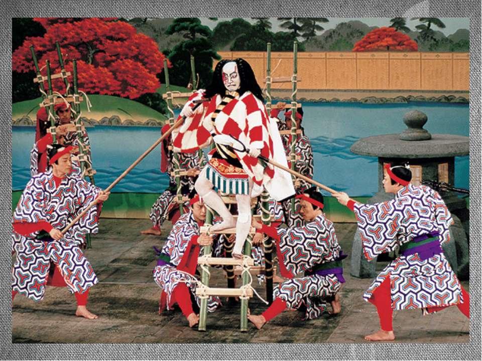 Элементы кабуки Сцена в театре кабуки имеет своеобразное строение. Её авансце...