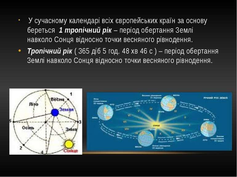 У сучасному календарі всіх європейських країн за основу береться 1 тропічний ...