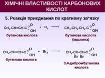 5. Реакція приєднання по кратному зв*язку бутенова кислота О OН СН3-СН=СН-С +...