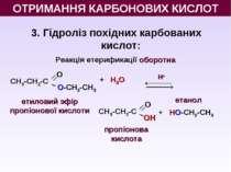 3. Гідроліз похідних карбованих кислот: Реакція етерификації оборотна Н+ + Н2...
