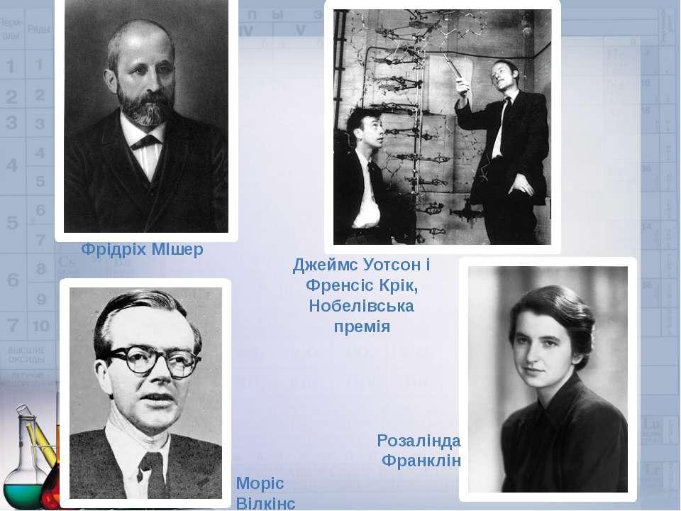 Фрідріх МІшер Джеймс Уотсон і Френсіс Крік, Нобелівська премія Моріс Вілкінс ...