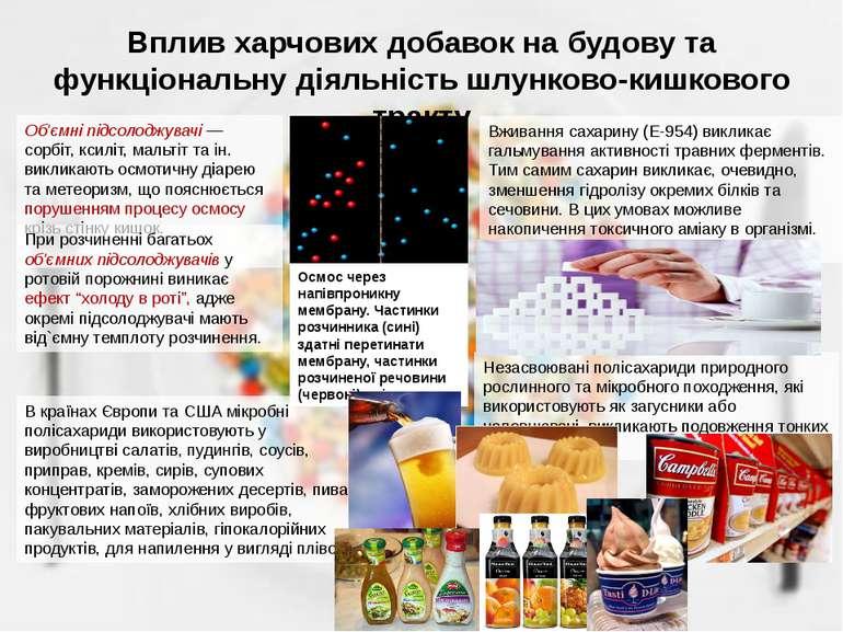 Вплив харчових добавок на будову та функціональну діяльність шлунково-кишково...