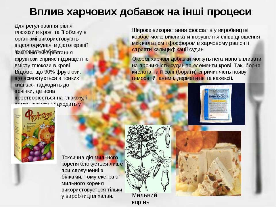 Вплив харчових добавок на інші процеси Для регулювання рівня глюкози в крові ...