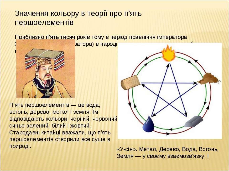 Значення кольору в теорії про п'ять першоелементів Приблизно п'ять тисяч рокі...