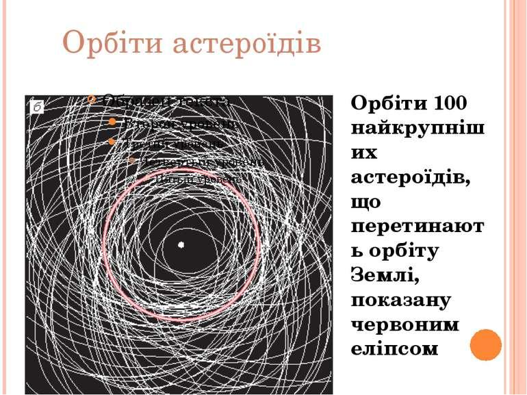 Орбіти 100 найкрупніших астероїдів, що перетинають орбіту Землі, показану чер...