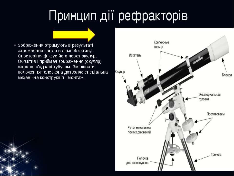 Принцип дії рефракторів Зображення отримують в результаті заломлення світла в...