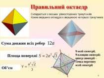* Сума довжин всіх ребер Площа поверхні Об'єм 9 осей симетрії, 9 площин симет...