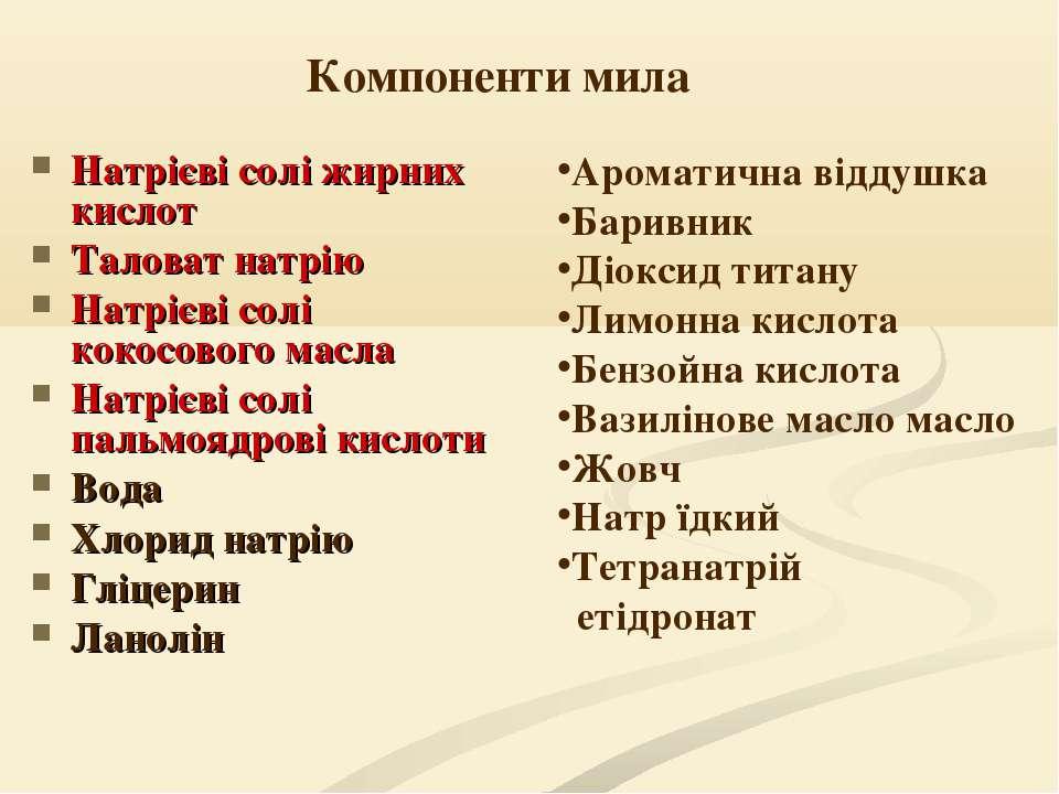 Компоненти мила Натрієві солі жирних кислот Таловат натрію Натрієві солі коко...