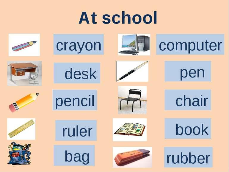 At school pencil crayon desk ruler bag computer pen chair rubber book