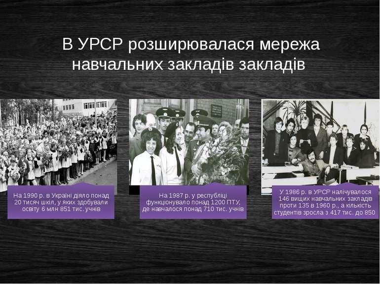 В УРСР розширювалася мережа навчальних закладів закладів