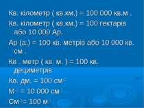 Кв. кілометр ( кв.км.) = 100 000 кв.м . Кв. кілометр ( кв.км.) = 100 гектарів...