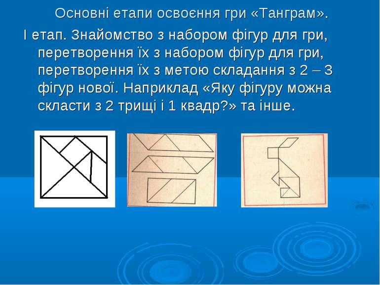 Основні етапи освоєння гри «Танграм». І етап. Знайомство з набором фігур для ...