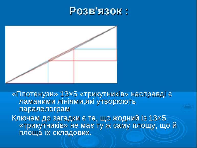 Розв'язок : «Гіпотенузи» 13×5 «трикутників» насправді є ламаними лініями,які ...