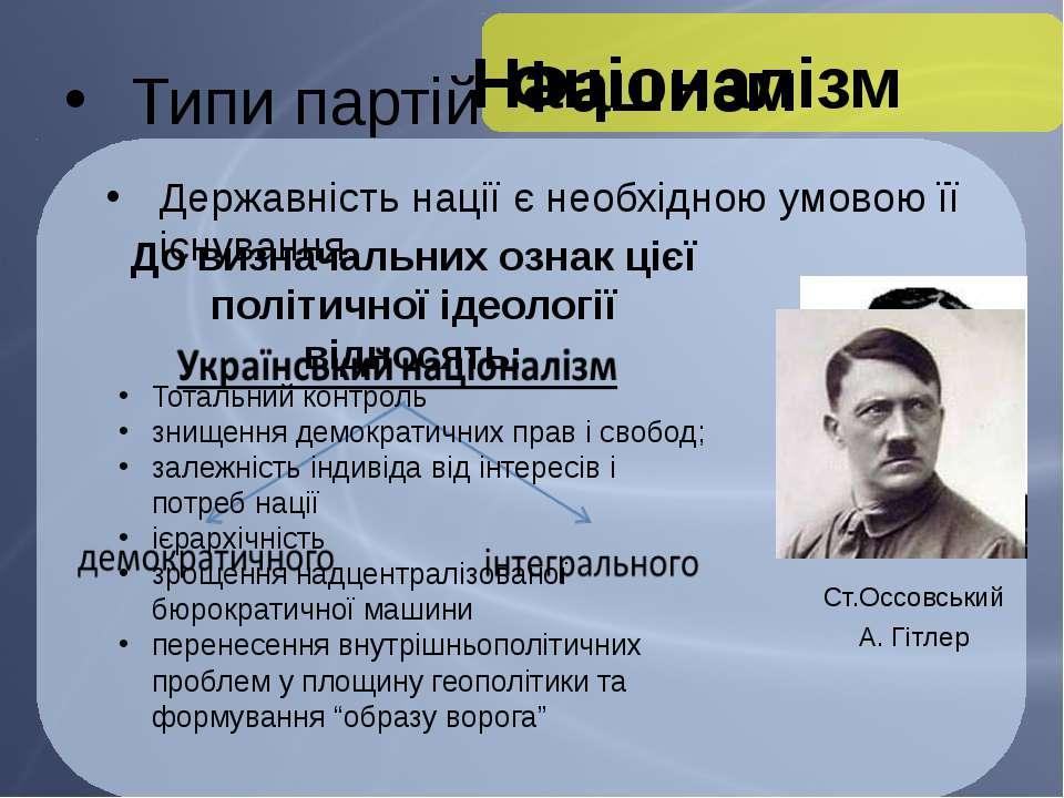 Типи партій Націоналізм Ст.Оссовський Державність нації є необхідною умовою ї...